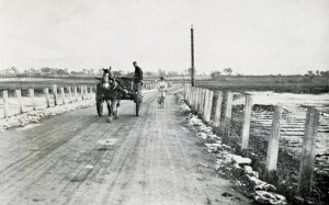 Image from Homeland Handy Guides - Mersea Island Page 11. Horse and cart crossing the Strood.